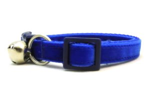 Blue Velvet Breakaway Cat Collar by Swanky Kitty – side