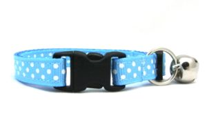 Kitten Blue Polka Dots Breakaway Cat Collar by Swanky Kitty – clip