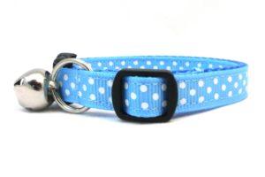 Kitten Blue Polka Dots Breakaway Cat Collar by Swanky Kitty – side