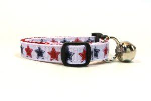 Patriotic Stars Breakaway Cat Collar by Swanky Kitty – side