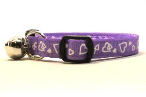 Purple Valentines Breakaway Cat Collar by Swanky Kitty – side