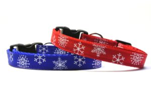 Blue & Red Snowflakes Breakaway Cat Collar by Swanky Kitty