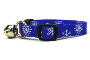 Blue Snowflakes Breakaway Cat Collar by Swanky Kitty – side