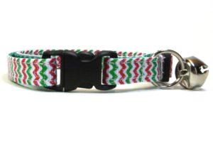 Christmas Chevron Breakaway Cat Collar by Swanky Kitty – clip