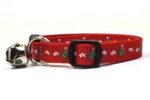Christmas Trees Breakaway Cat Collar by Swanky Kitty – side