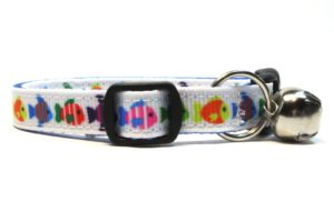 Colorful Fish Breakaway Cat Collar by Swanky Kitty – side