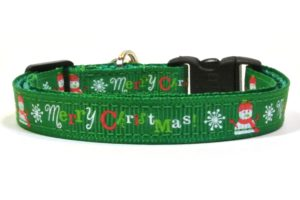 Green Merry Christmas Breakaway Cat Collar by Swanky Kitty