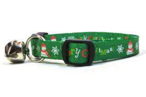 Green Merry Christmas Breakaway Cat Collar by Swanky Kitty – side