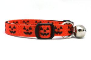 Jack o latern Halloween Breakaway Cat Collar by Swanky Kitty – side