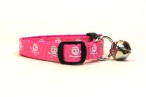 Pink Skulls Breakaway Cat Collar by Swanky Kitty – side