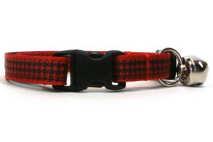 Red Houndstooth Breakaway Cat Collar by Swanky Kitty clip