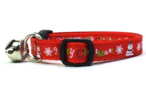 Red Merry Christmas Breakaway Cat Collar by Swanky Kitty – side