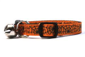 Spiderwebs Breakaway Cat Collar by Swanky Kitty in Orange – side