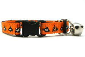 The Itsy Bitsy Spider Breakaway Cat Collar In Orange by Swanky Kitty – clip