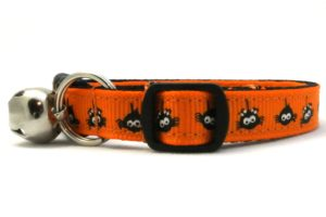 The Itsy Bitsy Spider Breakaway Cat Collar In Orange by Swanky Kitty – side