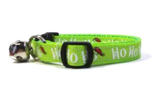 hohoho Green Christmas Breakaway Cat Collar by Swanky Kitty – side