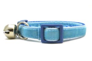 Light Blue Velvet Breakaway Cat Collar by Swanky Kitty – side