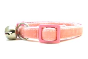 Light Pink Velvet Breakaway Cat Collar by Swanky Kitty – side