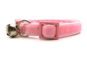 Light Pink Velvet Breakaway Cat Collar by Swanky Kitty – side