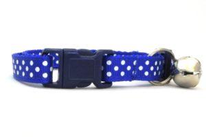 Royal Blue Polka Dot Breakaway Cat Collar by Swanky Kitty – clip