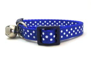Royal Blue Polka Dot Breakaway Cat Collar by Swanky Kitty – side