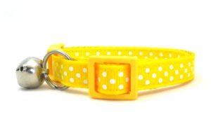 Yellow Polka Dot Breakaway Cat Collar by Swanky Kitty – side